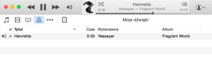 Dzwonek w sekcji Dźwięki w iTunesie