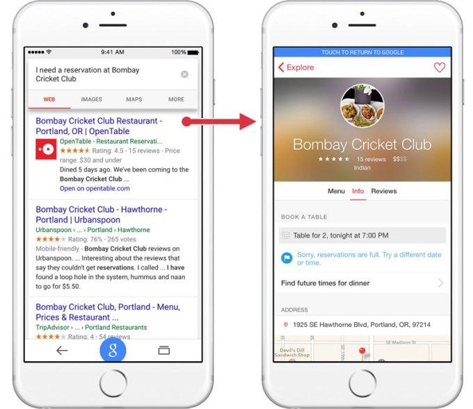 Treści z aplikacji mobilnych w wynikach wyszukiwania Google na iOS-a