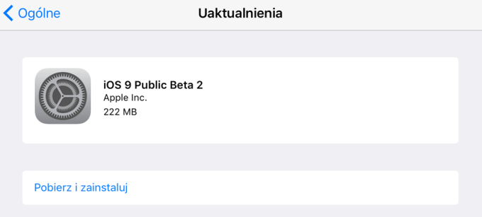 iOS 9 Public Beta 2 - update
