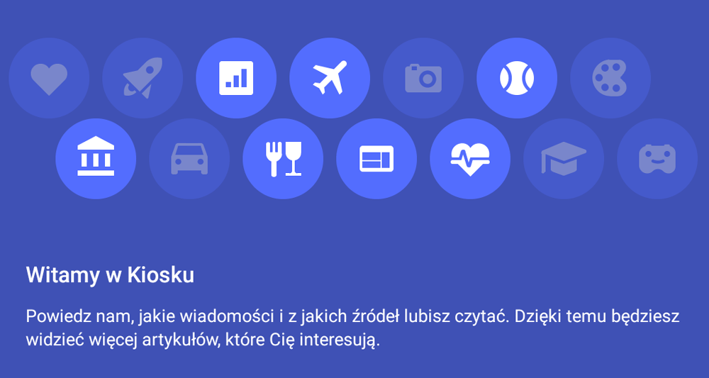Kiosk Google Play - ekran powitalny - personalizacja