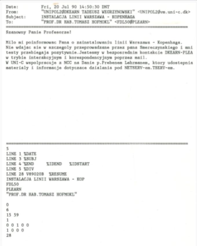 Wiadomość T. Węgrzynowskiego do prof. T. Homokla