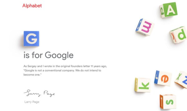 G jak Google, A jak Alphabet