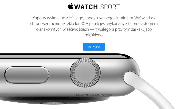 Oficjalne ceny zegarka Apple Watch w Polsce