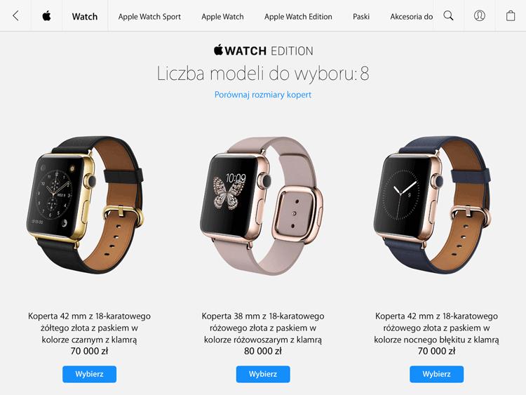Ceny Apple Watch Edition (z różowego i żółtego złota) w Polsce
