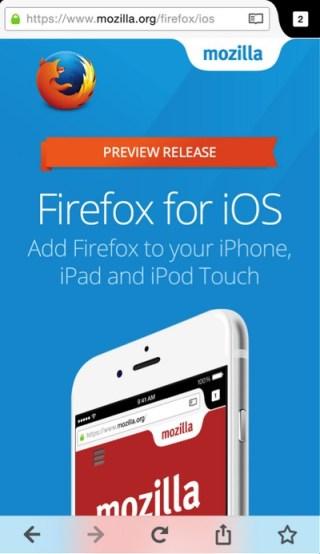 Firefox na iOS-a (screen z aplikacji)