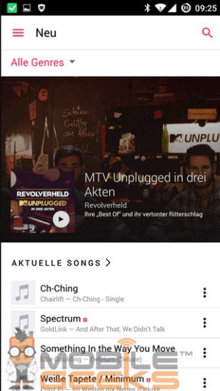Zrzut ekranu z aplikacji Apple Music na Androida