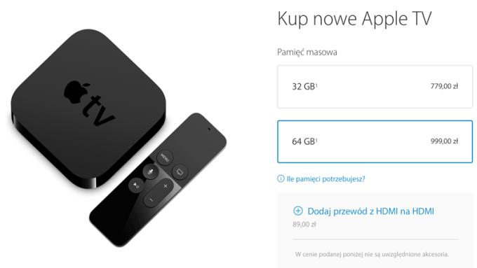 Cena Apple TV 4. generacji w Polsce