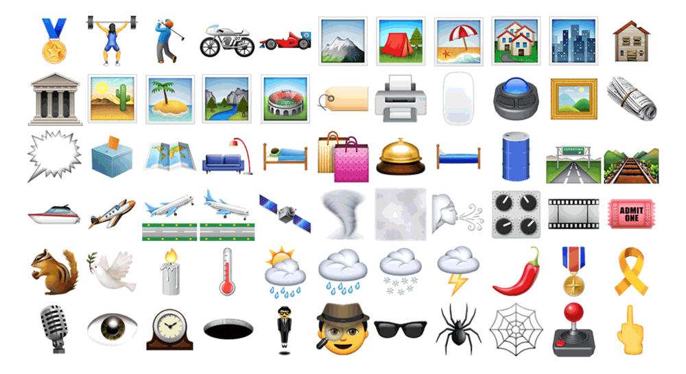 Ikony Emoji w systemie iOS 9.1 (Unicode 7)