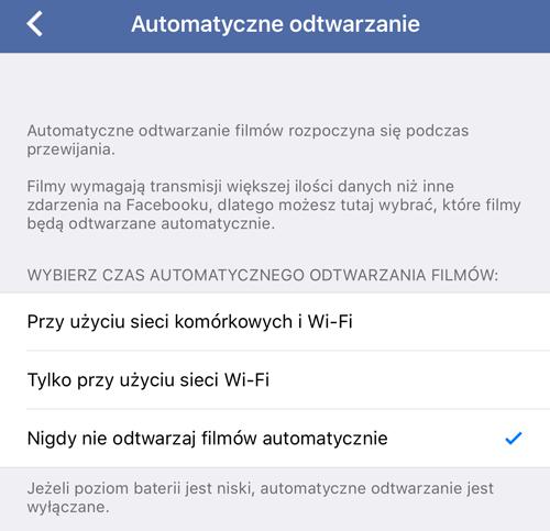 Wyłączenie automatycznego odtwarzania filmów w aplikacji Facebook