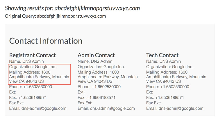 Google właścicielem domeny abcdefghijklmnopqrstuvwxyz.com