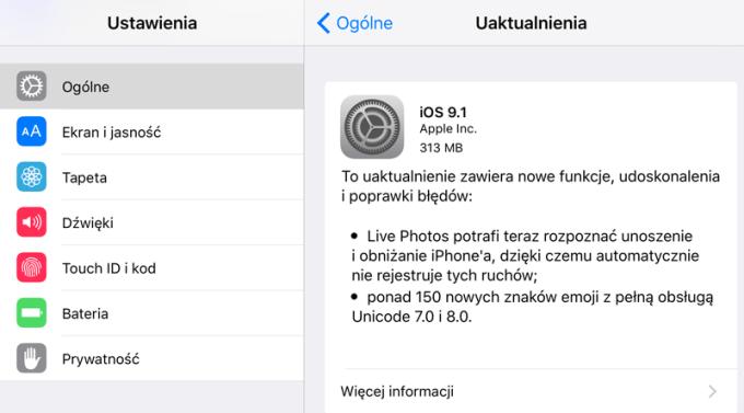 iOS 9.1 - update