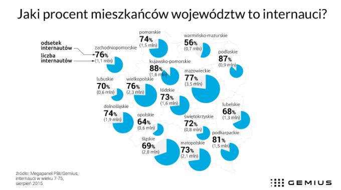 Jaki procent mieszkańców województw w Polsce to internauci?