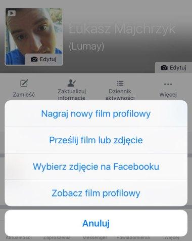 Ustawianie filmu profilowego na Facebooku przez aplikację mobilną (iPhone)