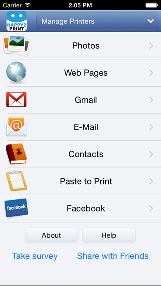 Happy2Print - aplikacja screen - dostępne opcje druku