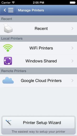 Happy2Print - aplikacja screen - lista dostepnych drukarek