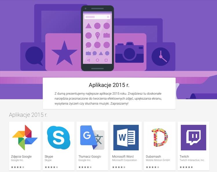 Najlepsze aplikacje 2015 r. Google Play