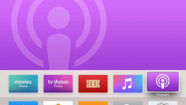 Aplikacja Podcasty na Apple TV 4 pod systemem tvOS 9.1.1