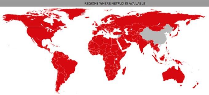 Mapa dostępności Netflixa na świecie