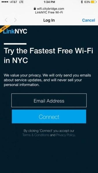 Połączenie z publiczną siecią Wi-Fi przez LinkNYC