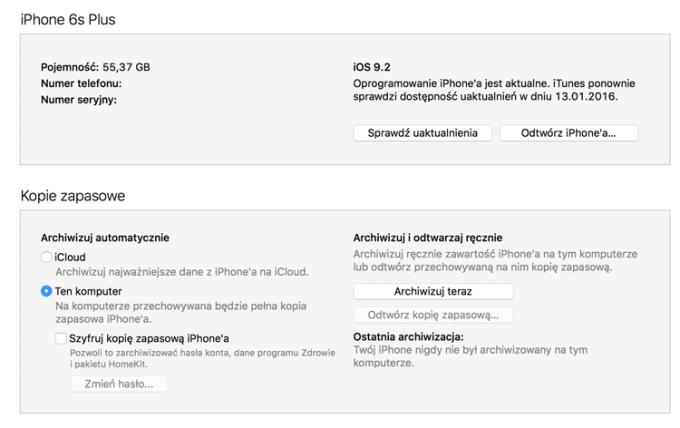 Przywracanie kopii zapasowej iPhone'a w programie iTunes