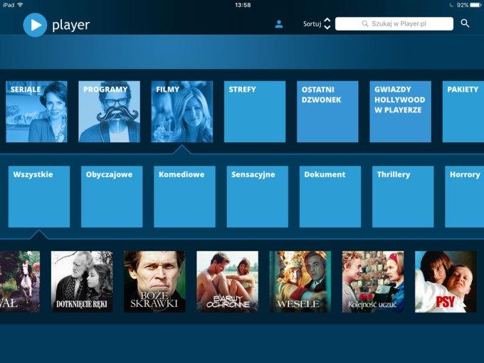 Player.pl TVN (screen aplikacji mobilnej na iPada)