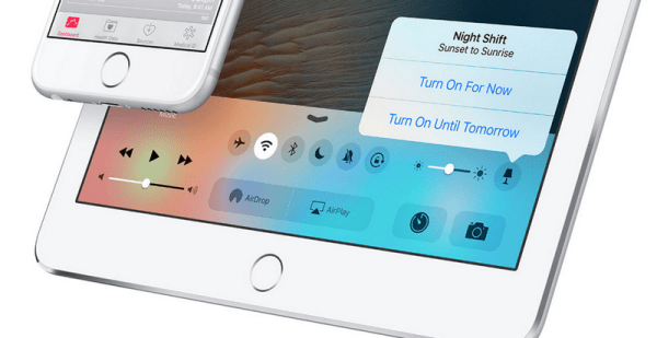 Tryb nocny w iOS 9.3 w Centrum sterowania