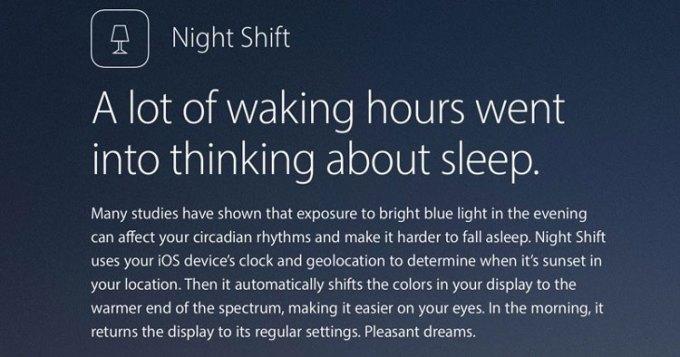 """Funkcja """"tryb nocny"""" w systemie iOS 9.3"""