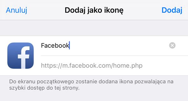 Nazwa skrótu i adres URL
