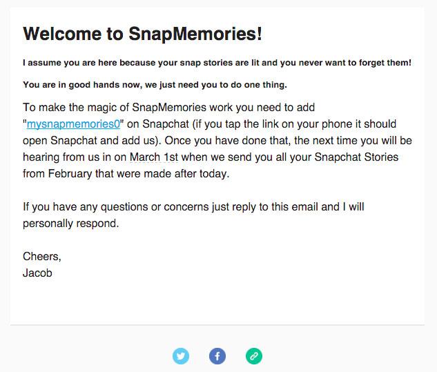 E-mail weryfikacyjny od usługi SnapMemories