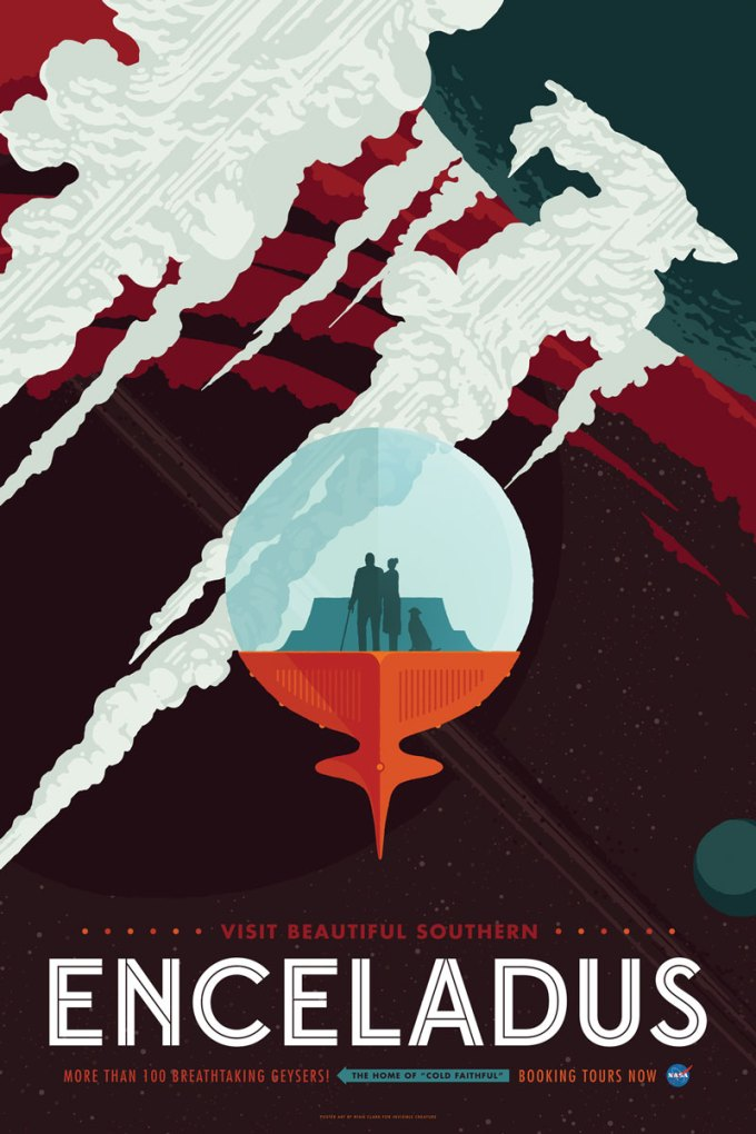 Enceladus - plakat NASA