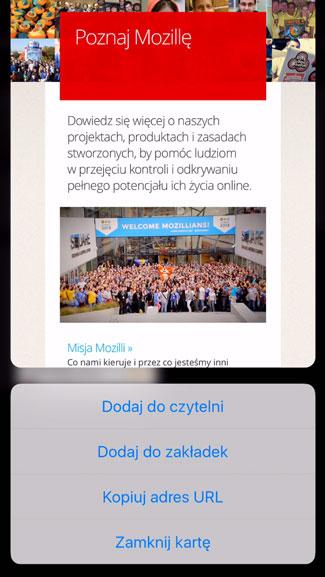 Firefox dla iOS-a obsługuje funkcję Peek and Pop