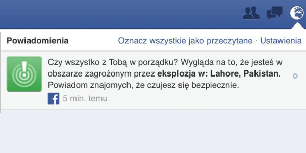 "Facebook omyłkowo uruchomił ""safety check"""