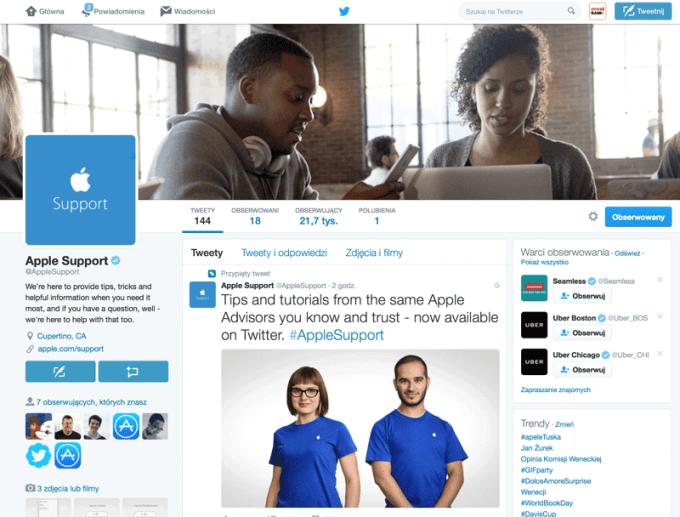 Konto Apple Support na Twitterze (screen)