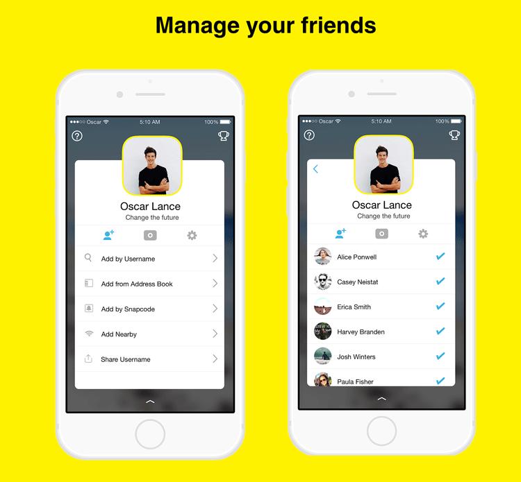 Zarządzanie listą znajomych na Snapchacie - koncepcja