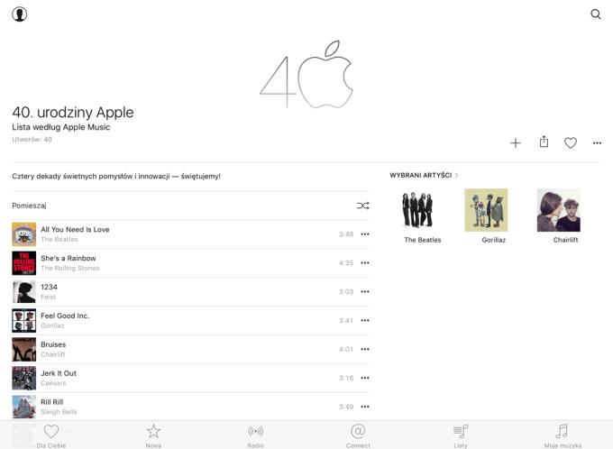 Lista utworów od Apple'a w Apple Music, z okazji 40. urodzin