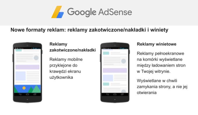 Nowe formaty reklam mobilnych AdSense na poziomie strony