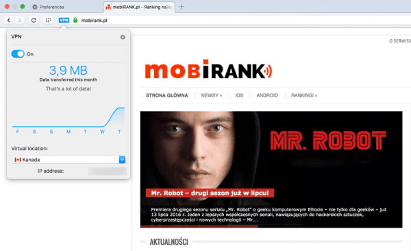 Opera i darmowy, wbudowany VPN