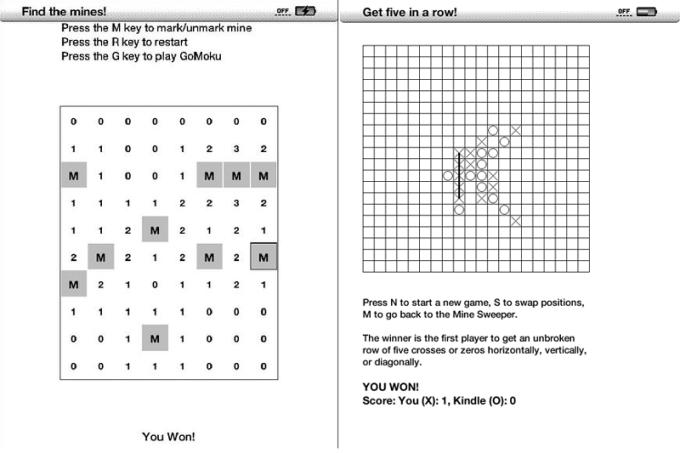 Ukryte gry Saper i Go-Moku na starszych czytnikach Kindle