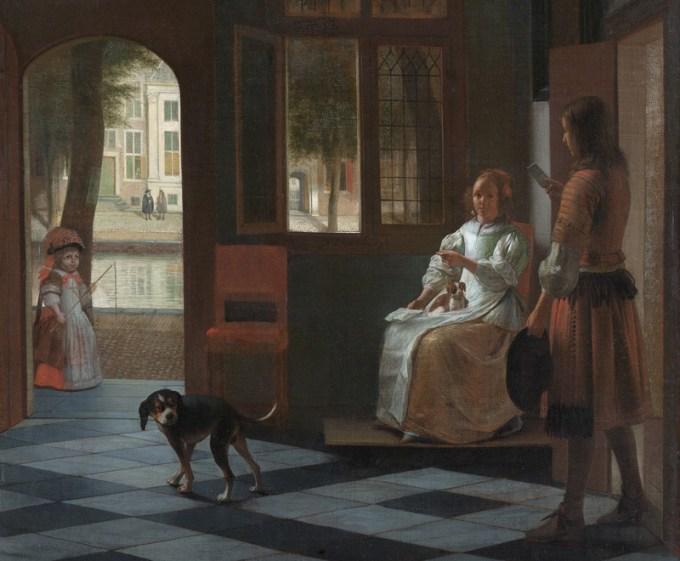 Man hands a letter to a woman in a hall, Pieter de Hooch