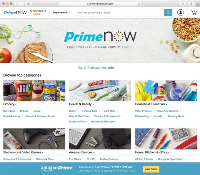 Nowa strona internetowa Amazon Prime Now