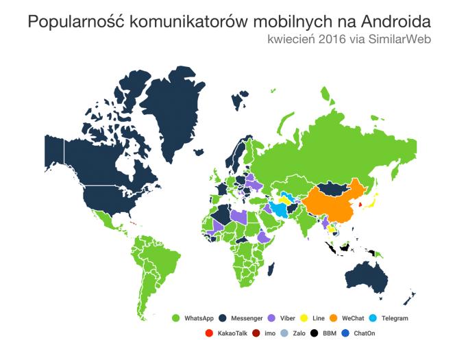 Popularność komunikatorów mobilnych na świecie na platformie Android (kwiecień 2016) - mobiGRAFIKA