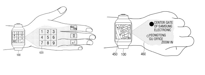Mapy i klawiatura na nadgarstku ze smartwatcha