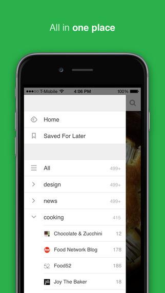 feedly app - screen ios