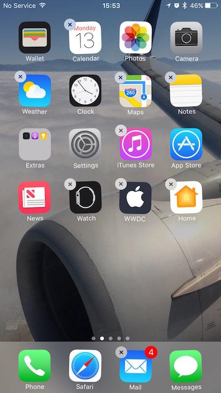 iOS 10 screen - aplikacje preinstalowane do usunięcia