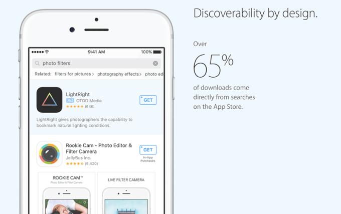 Przykład płatnej reklamy aplikacji mobilnej w sklepie App Store.