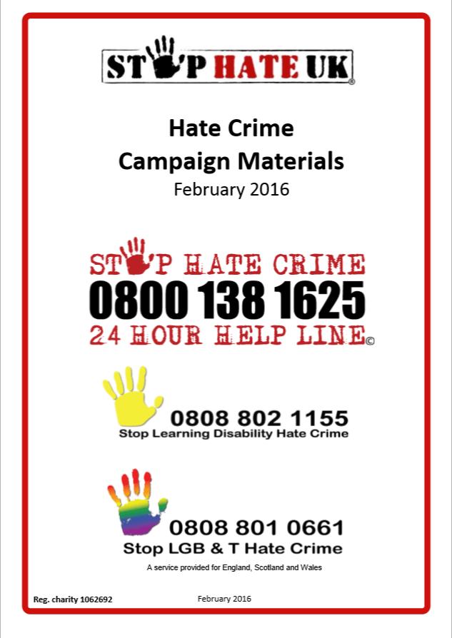 Ulotka kampanii Stop Hate UK
