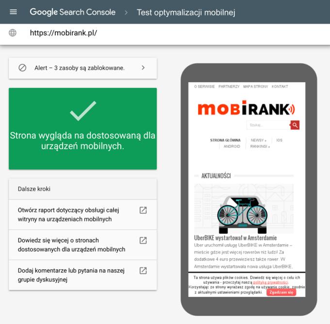 Test optymalizacji mobilnej w Search Console