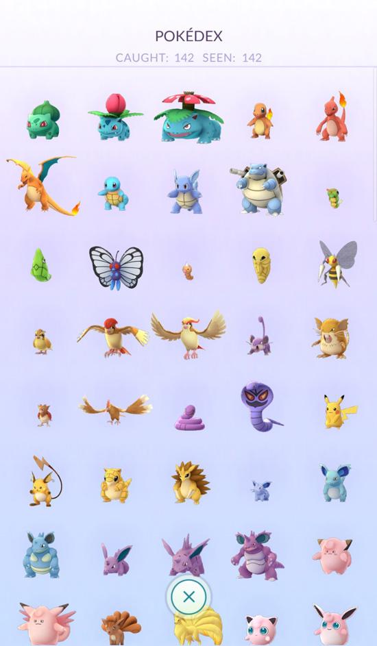 Pokedex - zrzut z gry Pokemon GO