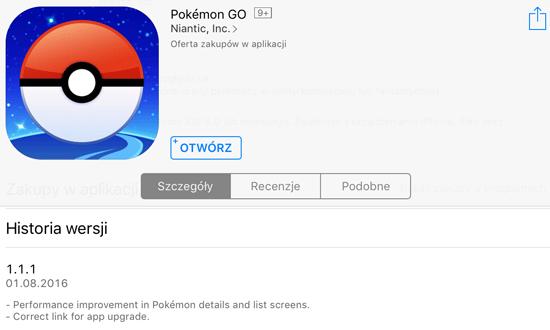 Screen z historią zmian w wersji 1.1.1 aplikacji