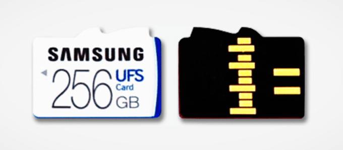 Karta pamięci flash Samsung UFS 256 GB (widok z przodu i tyłu)